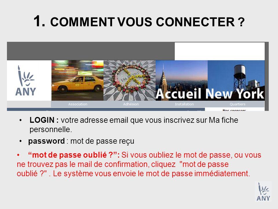 1. COMMENT VOUS CONNECTER ? LOGIN : votre adresse email que vous inscrivez sur Ma fiche personnelle. password : mot de passe reçu mot de passe oublié