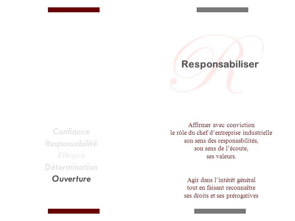 Confiance Responsabilité Ethique Détermination Ouverture Affirmer avec conviction le rôle du chef dentreprise industrielle son sens des responsabilités, son sens de lécoute, ses valeurs.