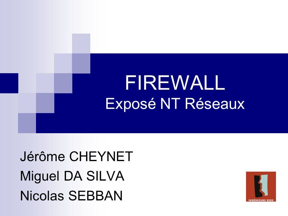 FIREWALL Exposé NT Réseaux Jérôme CHEYNET Miguel DA SILVA Nicolas SEBBAN