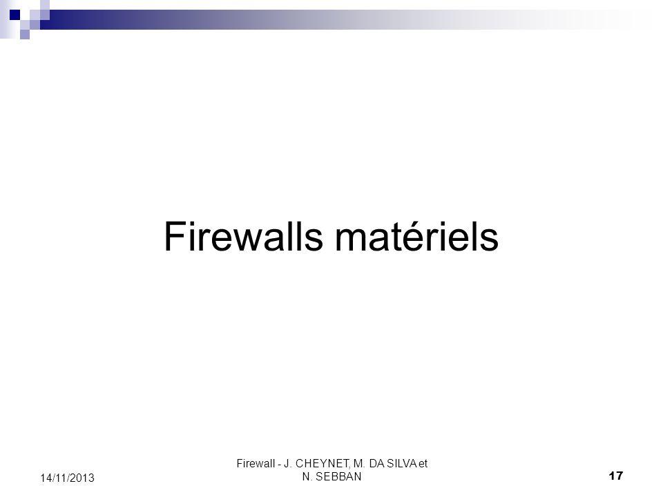 Firewall - J. CHEYNET, M. DA SILVA et N. SEBBAN 17 14/11/2013 Firewalls matériels