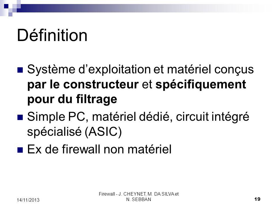 Firewall - J. CHEYNET, M. DA SILVA et N. SEBBAN 19 14/11/2013 Définition Système dexploitation et matériel conçus par le constructeur et spécifiquemen