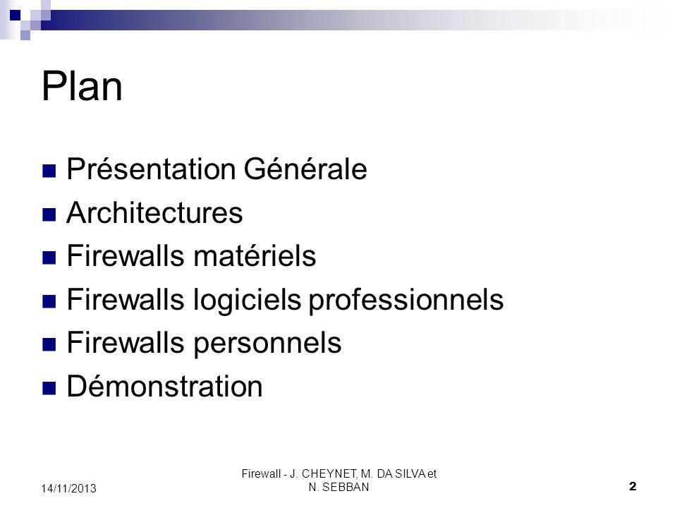 Firewall - J. CHEYNET, M. DA SILVA et N. SEBBAN 2 14/11/2013 Plan Présentation Générale Architectures Firewalls matériels Firewalls logiciels professi