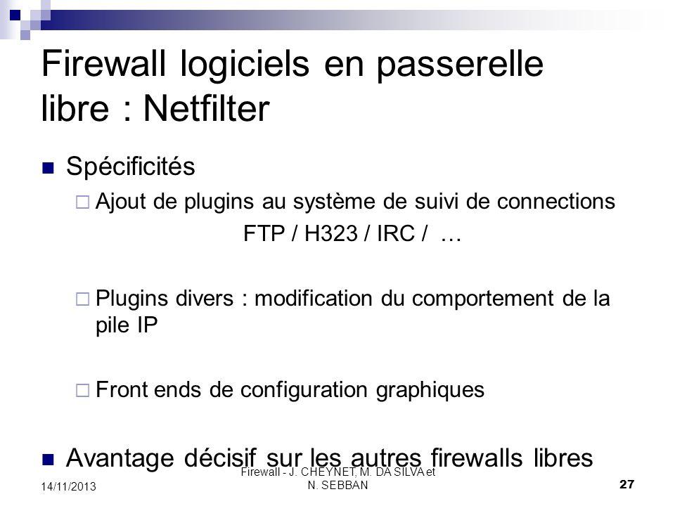 Firewall - J. CHEYNET, M. DA SILVA et N. SEBBAN 27 14/11/2013 Firewall logiciels en passerelle libre : Netfilter Spécificités Ajout de plugins au syst