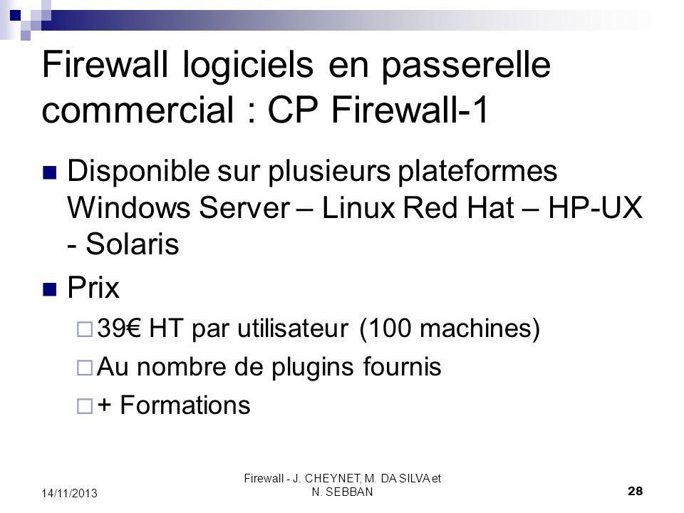 Firewall - J. CHEYNET, M. DA SILVA et N. SEBBAN 28 14/11/2013 Firewall logiciels en passerelle commercial : CP Firewall-1 Disponible sur plusieurs pla