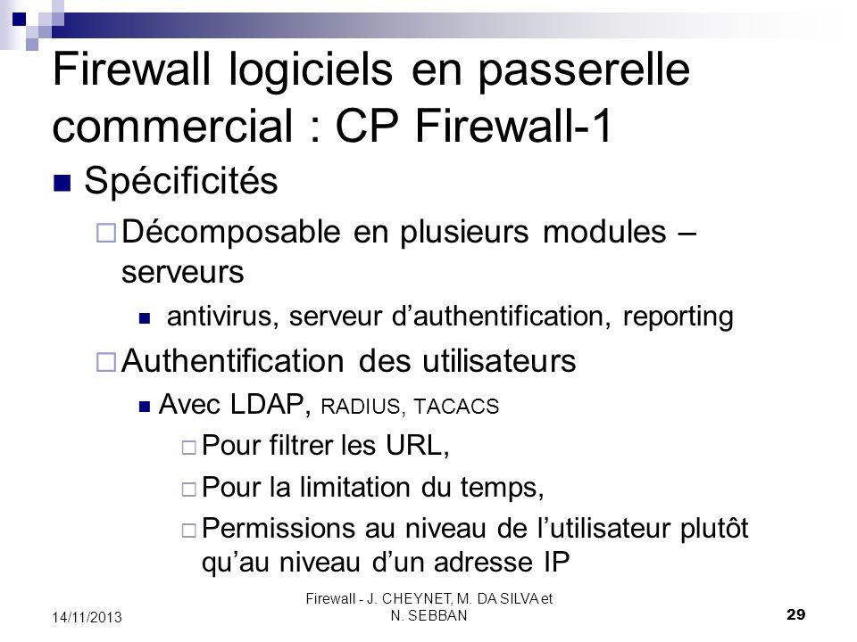 Firewall - J. CHEYNET, M. DA SILVA et N. SEBBAN 29 14/11/2013 Firewall logiciels en passerelle commercial : CP Firewall-1 Spécificités Décomposable en