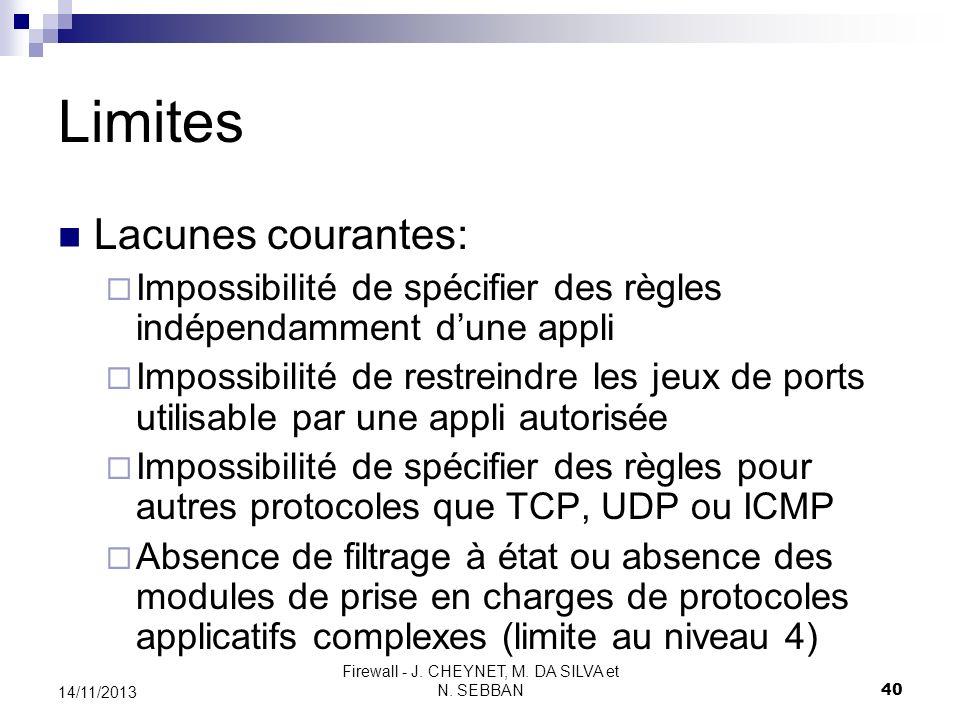 Firewall - J. CHEYNET, M. DA SILVA et N. SEBBAN 40 14/11/2013 Limites Lacunes courantes: Impossibilité de spécifier des règles indépendamment dune app
