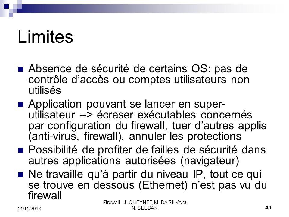 Firewall - J. CHEYNET, M. DA SILVA et N. SEBBAN 41 14/11/2013 Limites Absence de sécurité de certains OS: pas de contrôle daccès ou comptes utilisateu