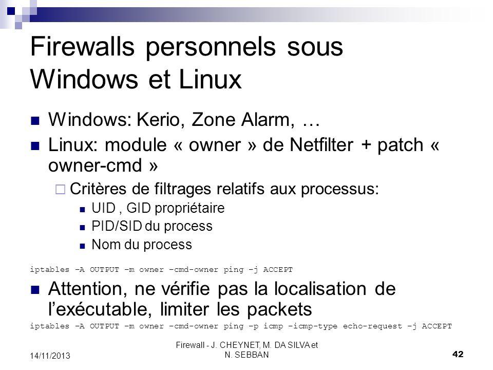 Firewall - J. CHEYNET, M. DA SILVA et N. SEBBAN 42 14/11/2013 Firewalls personnels sous Windows et Linux Windows: Kerio, Zone Alarm, … Linux: module «