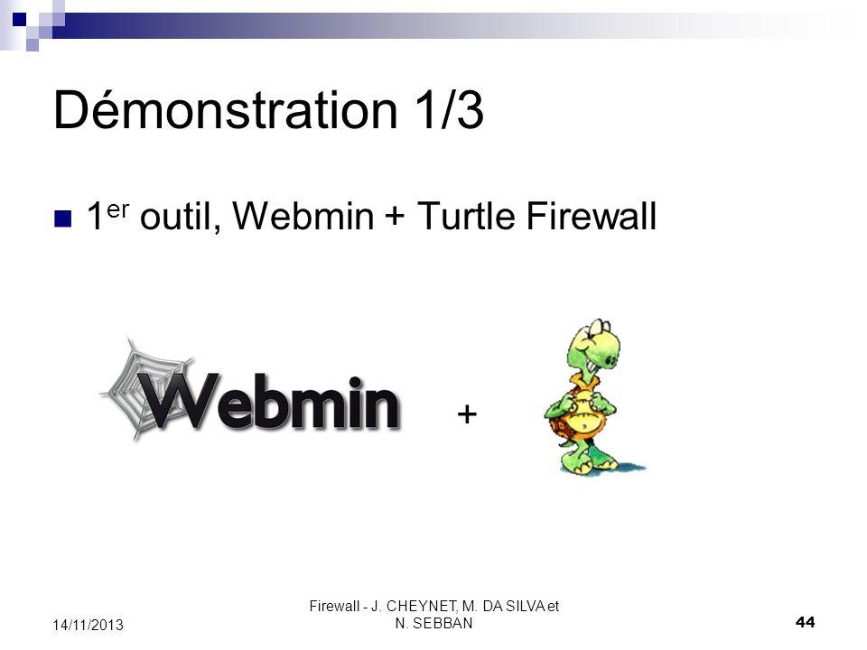 Firewall - J. CHEYNET, M. DA SILVA et N. SEBBAN 44 14/11/2013 Démonstration 1/3 1 er outil, Webmin + Turtle Firewall +