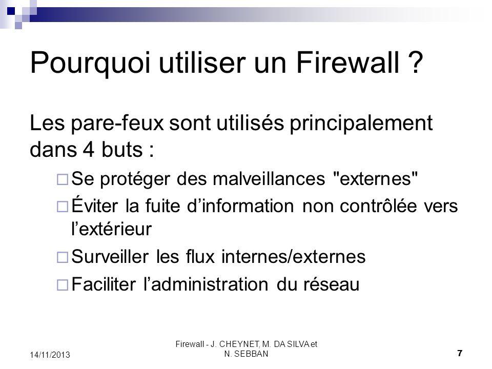 Firewall - J. CHEYNET, M. DA SILVA et N. SEBBAN 7 14/11/2013 Pourquoi utiliser un Firewall ? Les pare-feux sont utilisés principalement dans 4 buts :