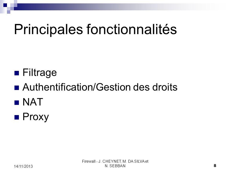 Firewall - J. CHEYNET, M. DA SILVA et N. SEBBAN 8 14/11/2013 Principales fonctionnalités Filtrage Authentification/Gestion des droits NAT Proxy