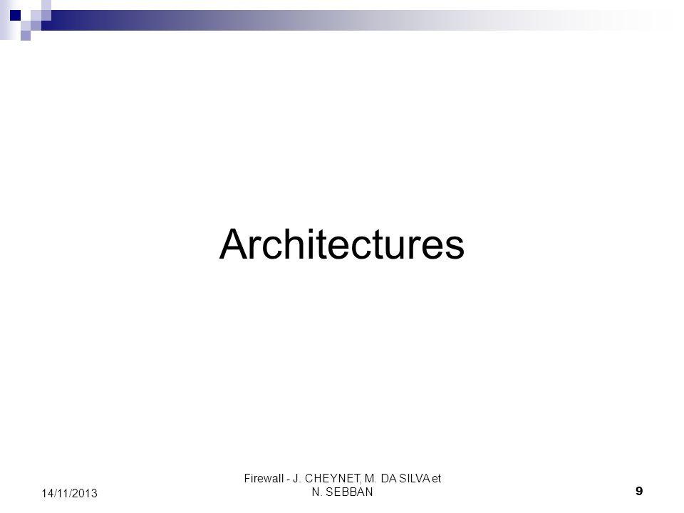 Firewall - J. CHEYNET, M. DA SILVA et N. SEBBAN 9 14/11/2013 Architectures