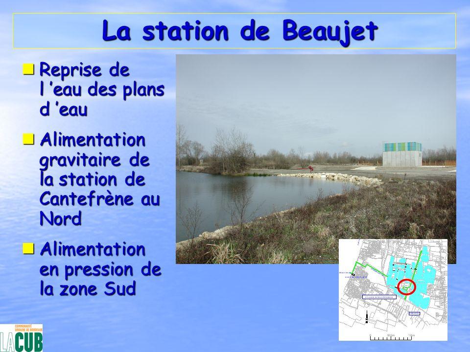 La station de Beaujet La station de Beaujet nReprise de l eau des plans d eau nAlimentation gravitaire de la station de Cantefrène au Nord nAlimentati