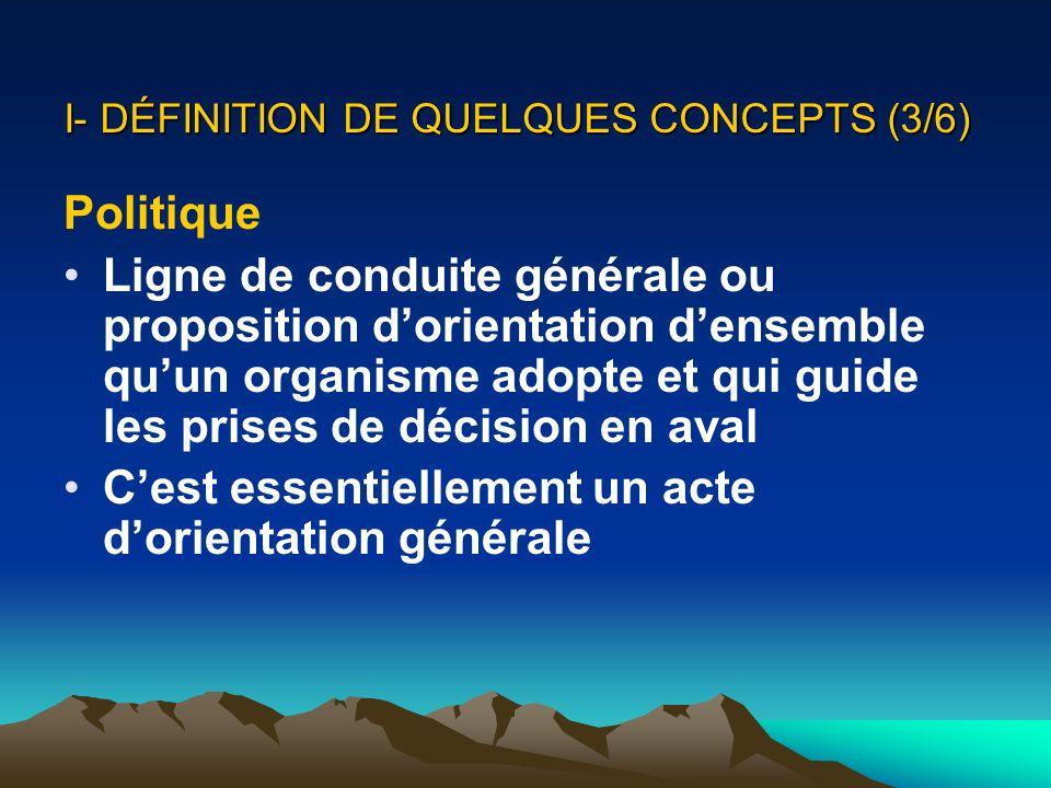 I- DÉFINITION DE QUELQUES CONCEPTS (3/6) Politique Ligne de conduite générale ou proposition dorientation densemble quun organisme adopte et qui guide