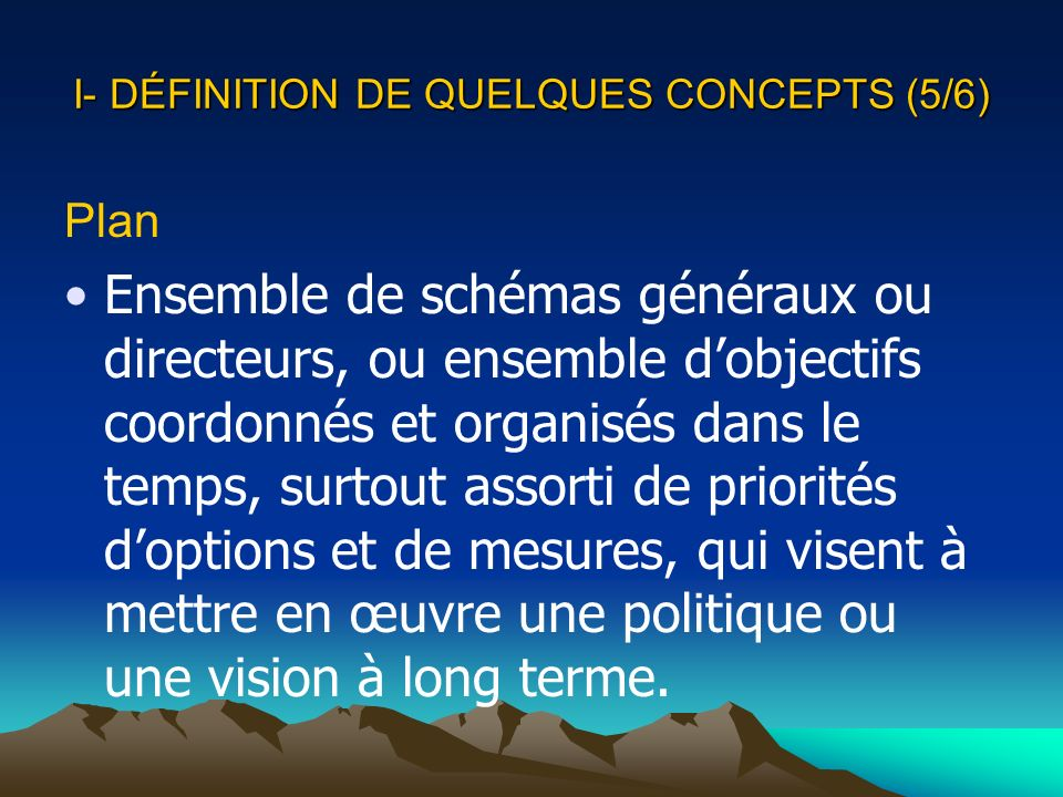 I- DÉFINITION DE QUELQUES CONCEPTS (5/6) Plan Ensemble de schémas généraux ou directeurs, ou ensemble dobjectifs coordonnés et organisés dans le temps
