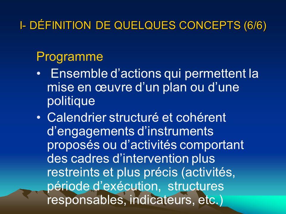 I- DÉFINITION DE QUELQUES CONCEPTS (6/6) Programme Ensemble dactions qui permettent la mise en œuvre dun plan ou dune politique Calendrier structuré e