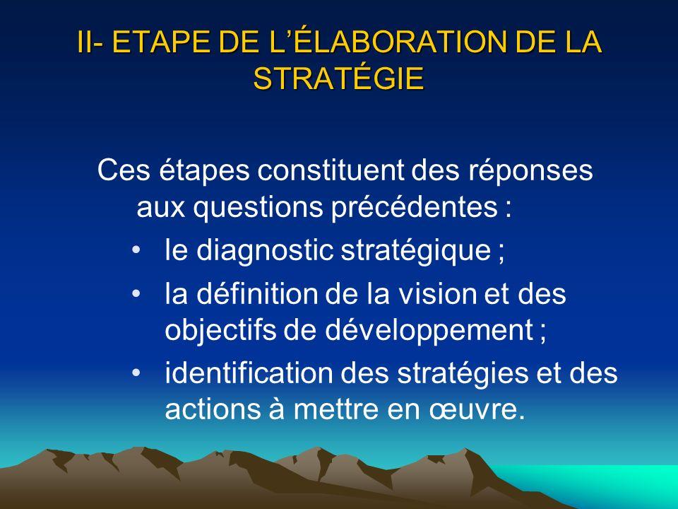 II- ETAPE DE LÉLABORATION DE LA STRATÉGIE Ces étapes constituent des réponses aux questions précédentes : le diagnostic stratégique ; la définition de