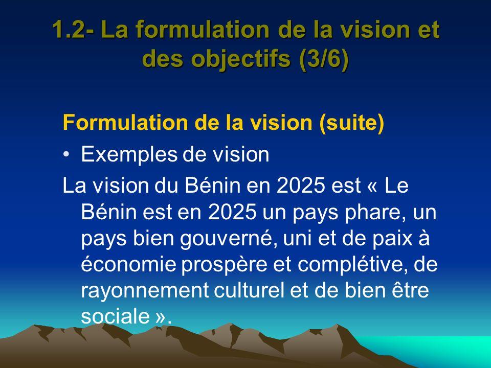 1.2- La formulation de la vision et des objectifs (3/6) Formulation de la vision (suite) Exemples de vision La vision du Bénin en 2025 est « Le Bénin