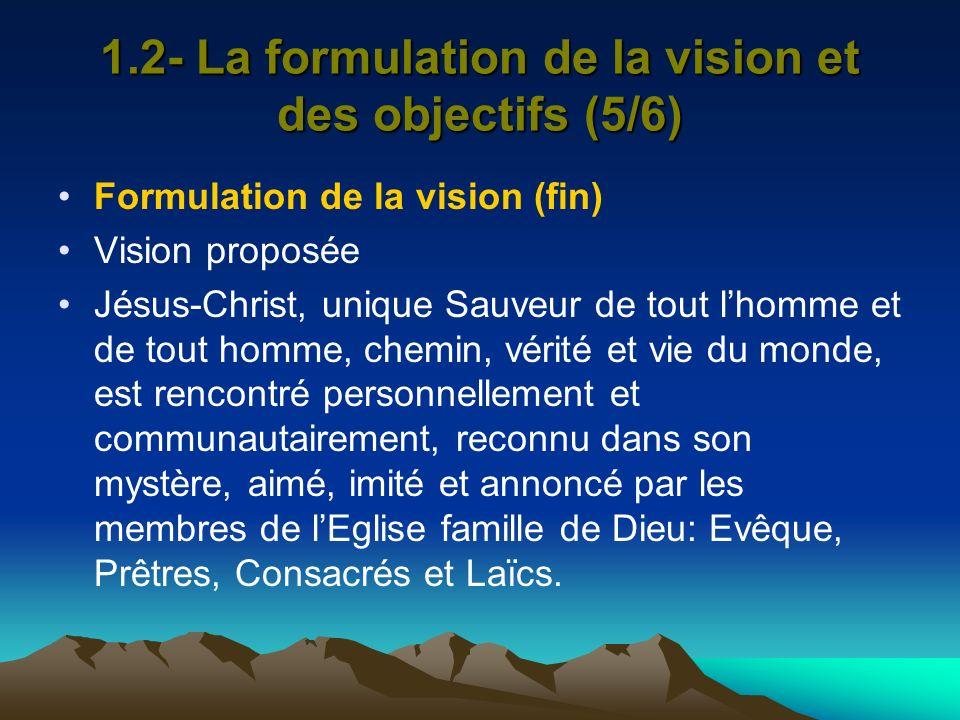 1.2- La formulation de la vision et des objectifs (5/6) Formulation de la vision (fin) Vision proposée Jésus-Christ, unique Sauveur de tout lhomme et