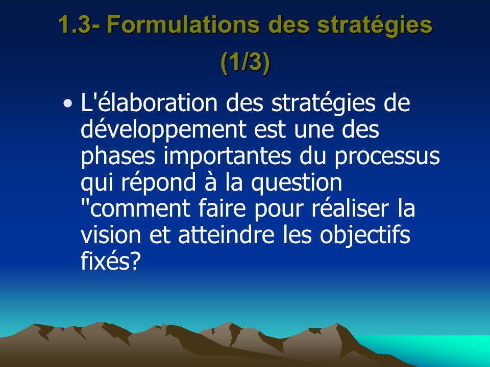 1.3- Formulations des stratégies (1/3) L'élaboration des stratégies de développement est une des phases importantes du processus qui répond à la quest