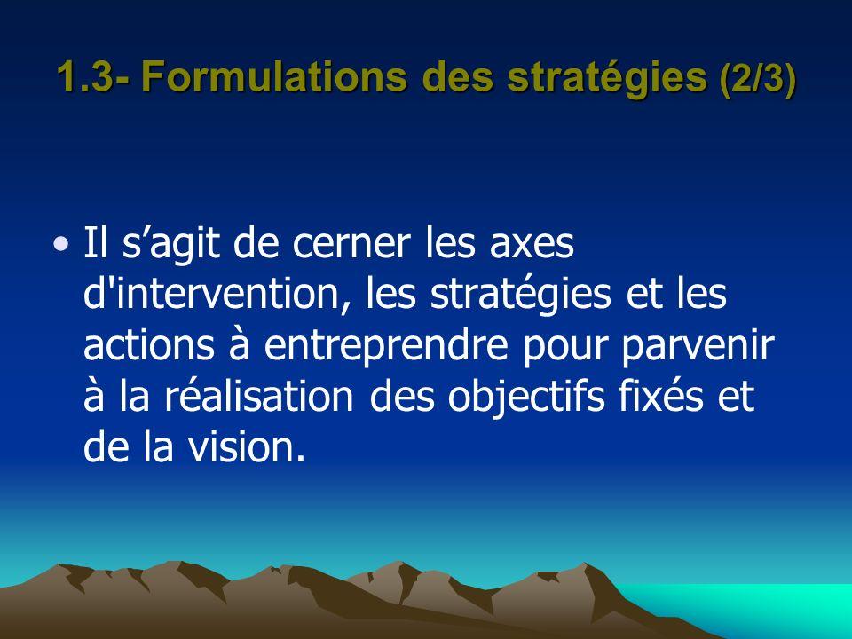 1.3- Formulations des stratégies (2/3) Il sagit de cerner les axes d'intervention, les stratégies et les actions à entreprendre pour parvenir à la réa