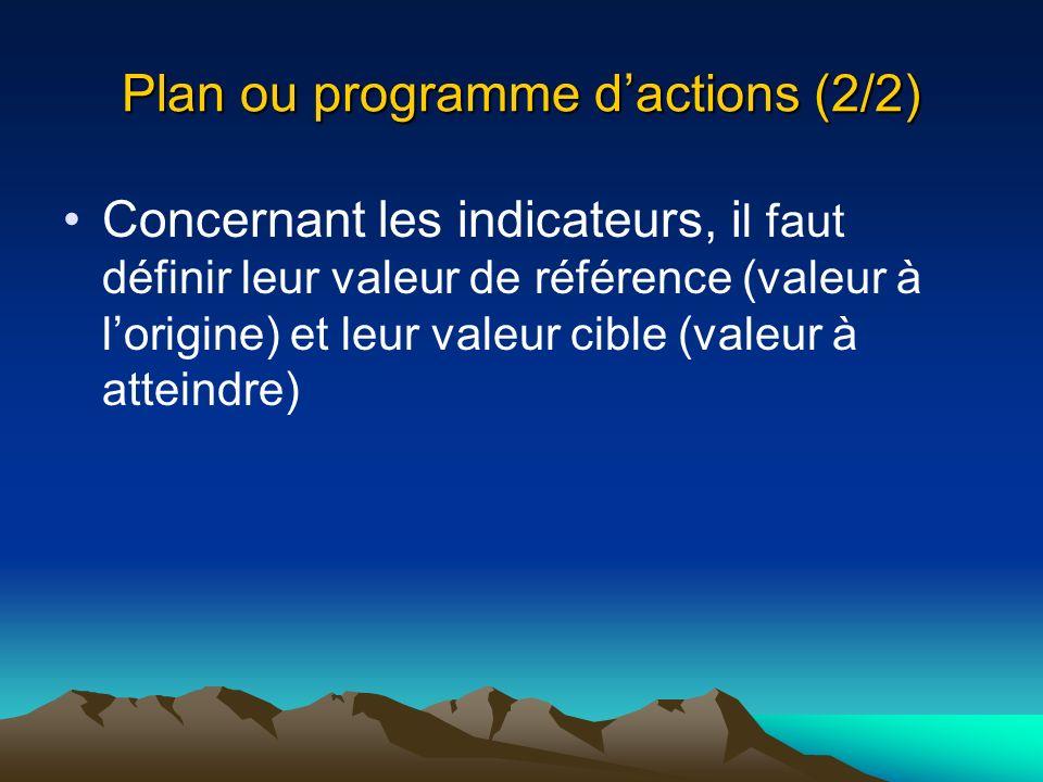 Plan ou programme dactions (2/2) Concernant les indicateurs, i l faut définir leur valeur de référence (valeur à lorigine) et leur valeur cible (valeu