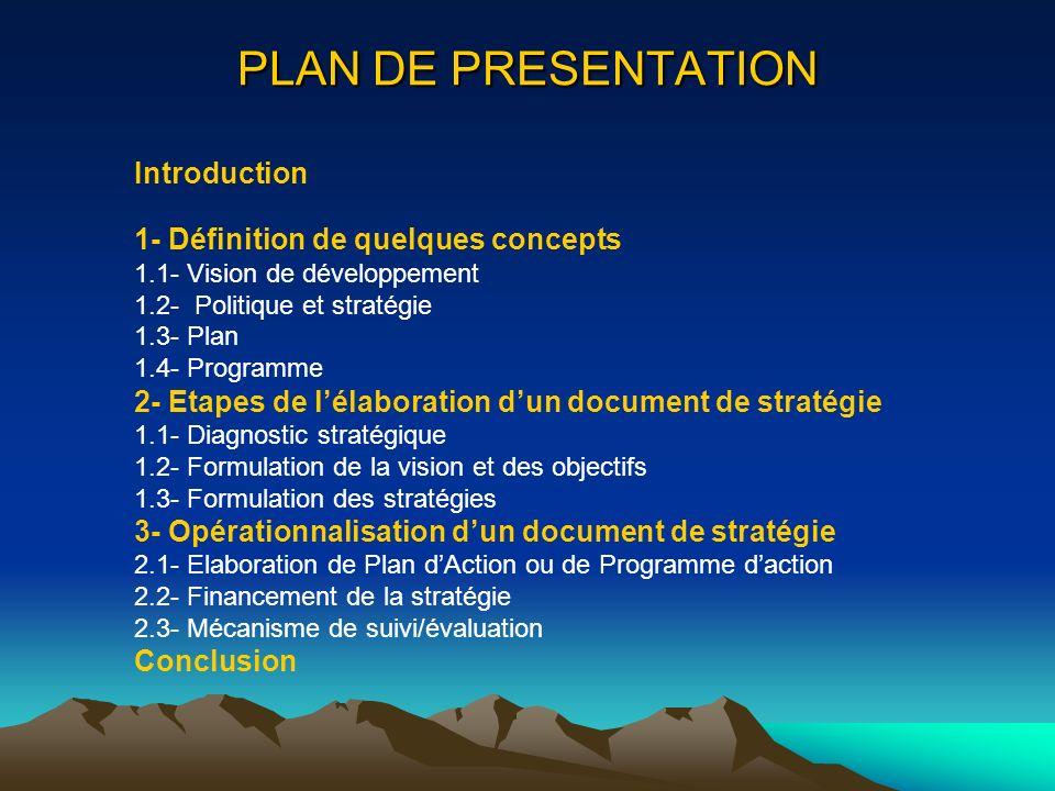 PLAN DE PRESENTATION Introduction 1- Définition de quelques concepts 1.1- Vision de développement 1.2- Politique et stratégie 1.3- Plan 1.4- Programme