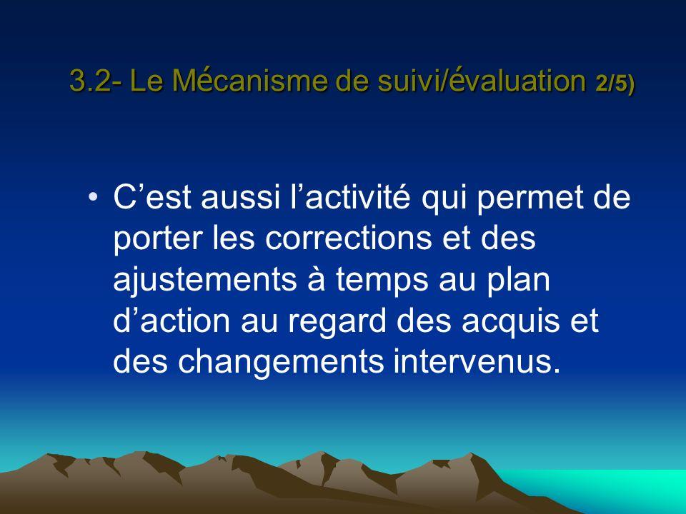 3.2- Le M é canisme de suivi/ é valuation 2/5) Cest aussi lactivité qui permet de porter les corrections et des ajustements à temps au plan daction au