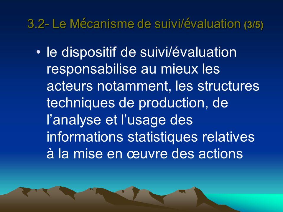 3.2- Le M é canisme de suivi/ é valuation (3/5) le dispositif de suivi/évaluation responsabilise au mieux les acteurs notamment, les structures techni