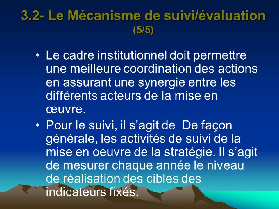 3.2- Le Mécanisme de suivi/évaluation (5/5) Le cadre institutionnel doit permettre une meilleure coordination des actions en assurant une synergie ent