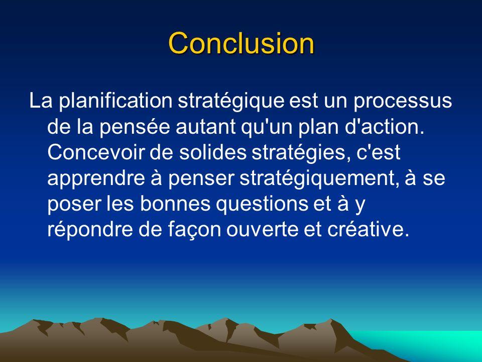Conclusion La planification stratégique est un processus de la pensée autant qu'un plan d'action. Concevoir de solides stratégies, c'est apprendre à p