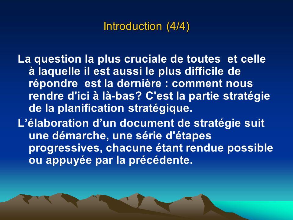 Introduction (4/4) La question la plus cruciale de toutes et celle à laquelle il est aussi le plus difficile de répondre est la dernière : comment nou