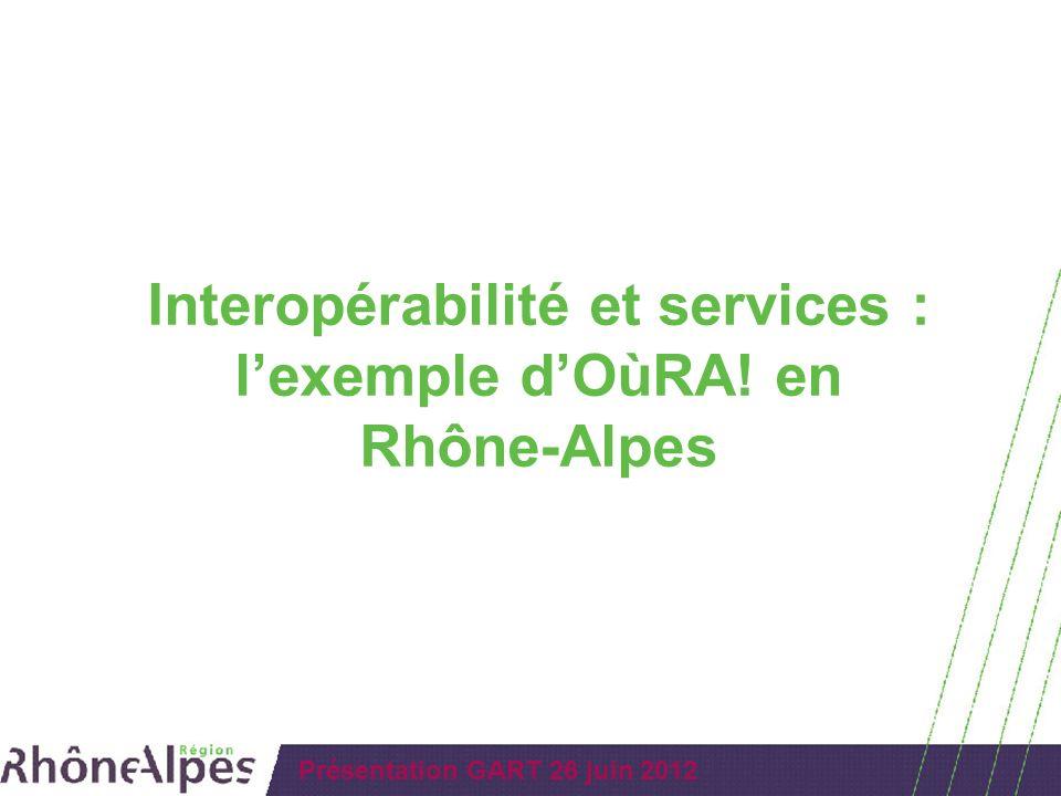 Présentation GART 26 juin 2012 Interopérabilité et services : lexemple dOùRA! en Rhône-Alpes