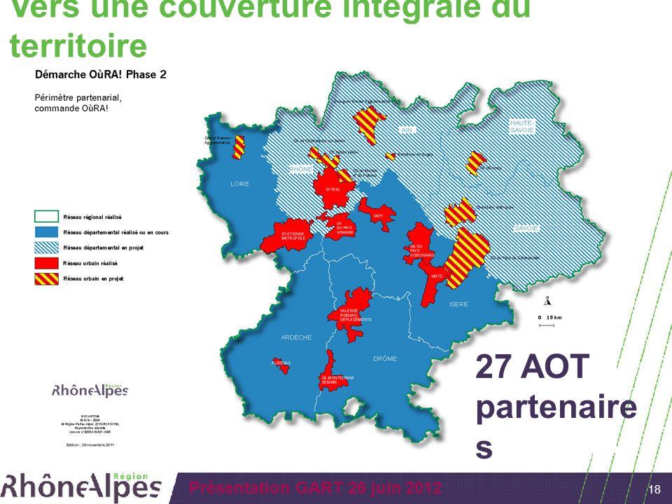 18 Présentation GART 26 juin 2012 Vers une couverture intégrale du territoire 27 AOT partenaire s