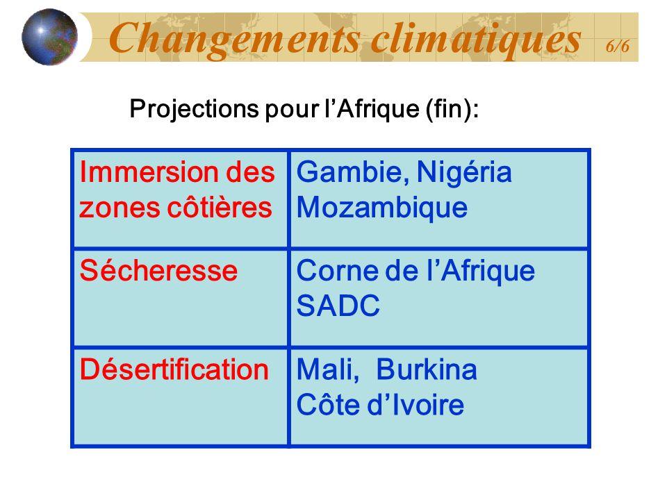 Immersion des zones côtières Gambie, Nigéria Mozambique SécheresseCorne de lAfrique SADC DésertificationMali, Burkina Côte dIvoire Projections pour lA