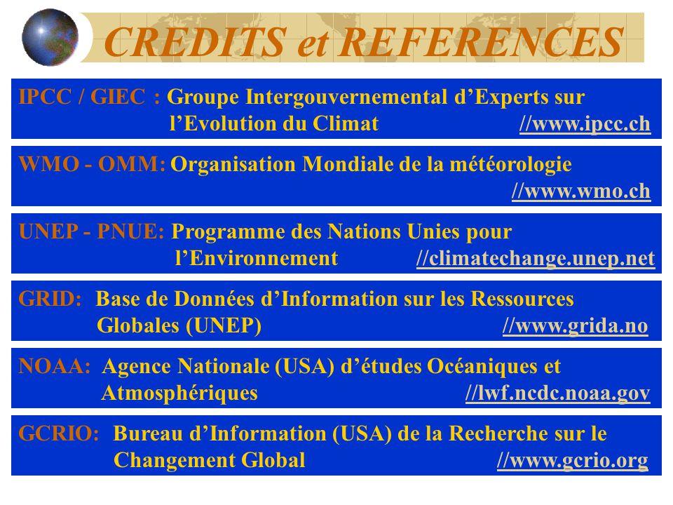 CREDITS et REFERENCES IPCC / GIEC : Groupe Intergouvernemental dExperts sur lEvolution du Climat //www.ipcc.ch//www.ipcc.ch GCRIO: Bureau dInformation