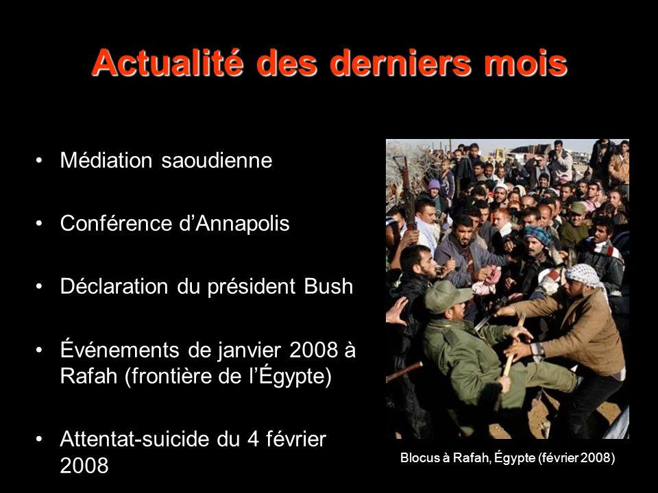 Médiation saoudienne Conférence dAnnapolis Déclaration du président Bush Événements de janvier 2008 à Rafah (frontière de lÉgypte) Attentat-suicide du