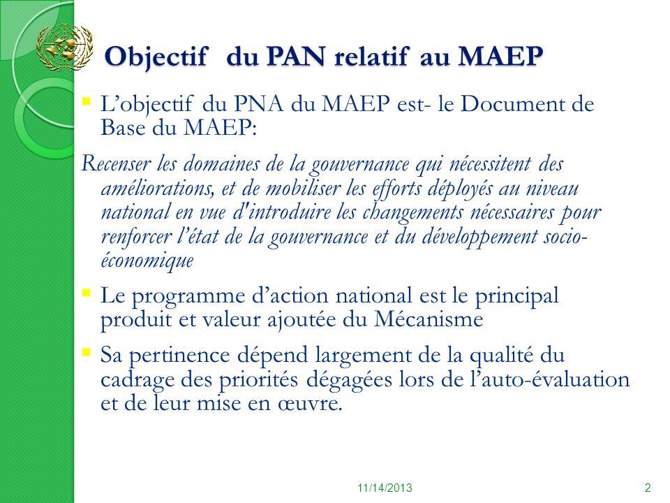 Objectif du PAN relatif au MAEP Objectif du PAN relatif au MAEP 11/14/20132 Lobjectif du PNA du MAEP est- le Document de Base du MAEP: Recenser les do