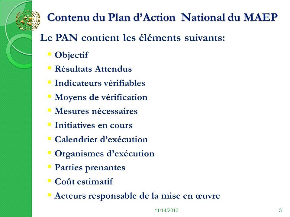 Contenu du Plan dAction National du MAEP Contenu du Plan dAction National du MAEP 11/14/20133 Le PAN contient les éléments suivants: Objectif Résultat