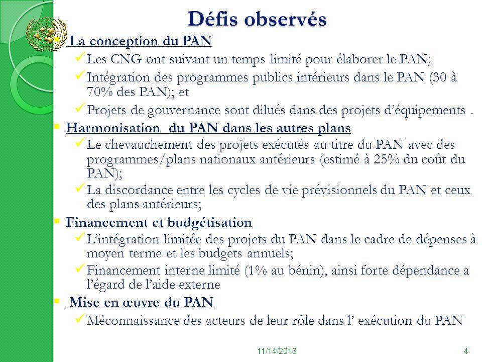 Défis observés 11/14/20134 La conception du PAN Les CNG ont suivant un temps limité pour élaborer le PAN; Intégration des programmes publics intérieur