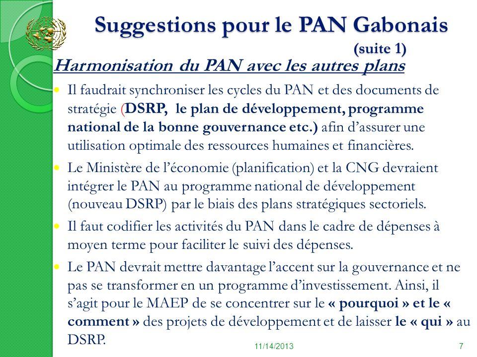 Suggestions pour le PAN Gabonais (suite 1) Suggestions pour le PAN Gabonais (suite 1) 11/14/20137 Harmonisation du PAN avec les autres plans Il faudra