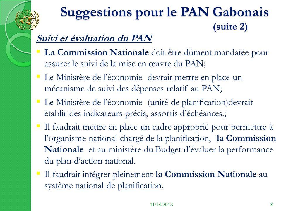 11/14/20138 Suivi et évaluation du PAN La Commission Nationale doit être dûment mandatée pour assurer le suivi de la mise en œuvre du PAN; Le Ministèr