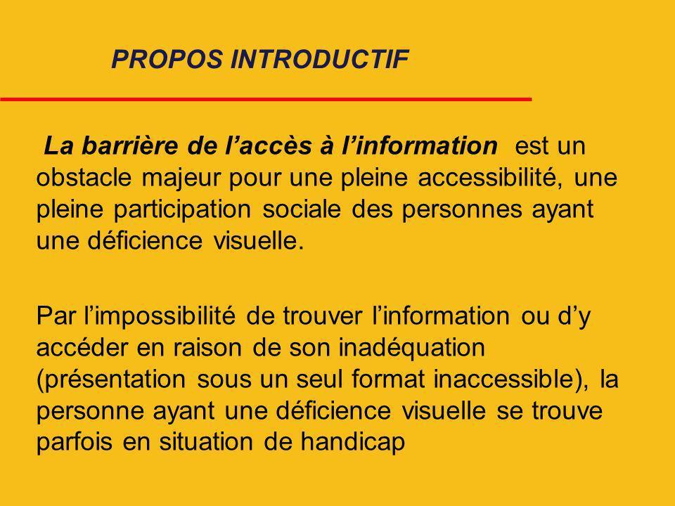 La barrière de laccès à linformation est un obstacle majeur pour une pleine accessibilité, une pleine participation sociale des personnes ayant une dé