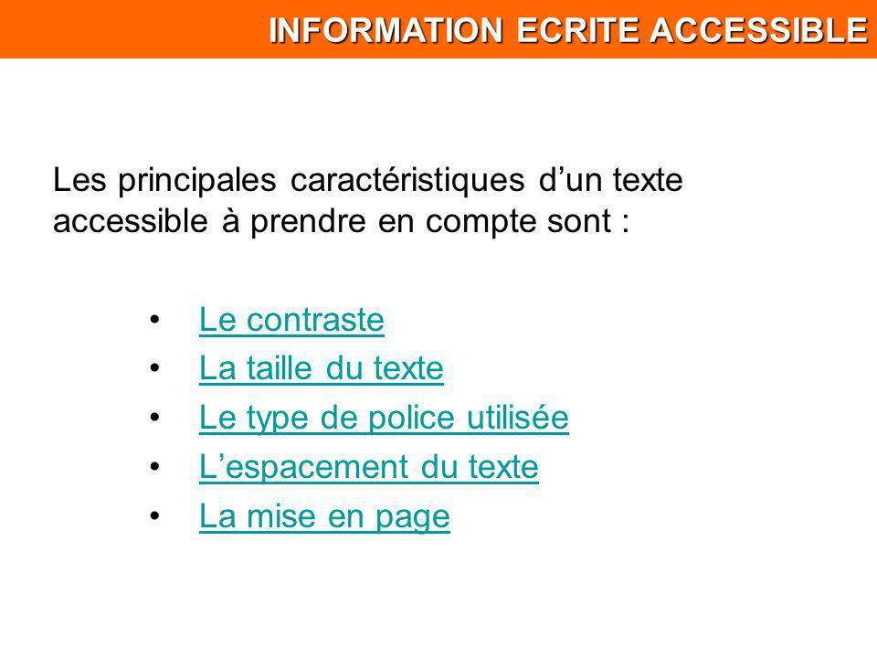 Les principales caractéristiques dun texte accessible à prendre en compte sont : Le contraste La taille du texte Le type de police utilisée Lespacemen