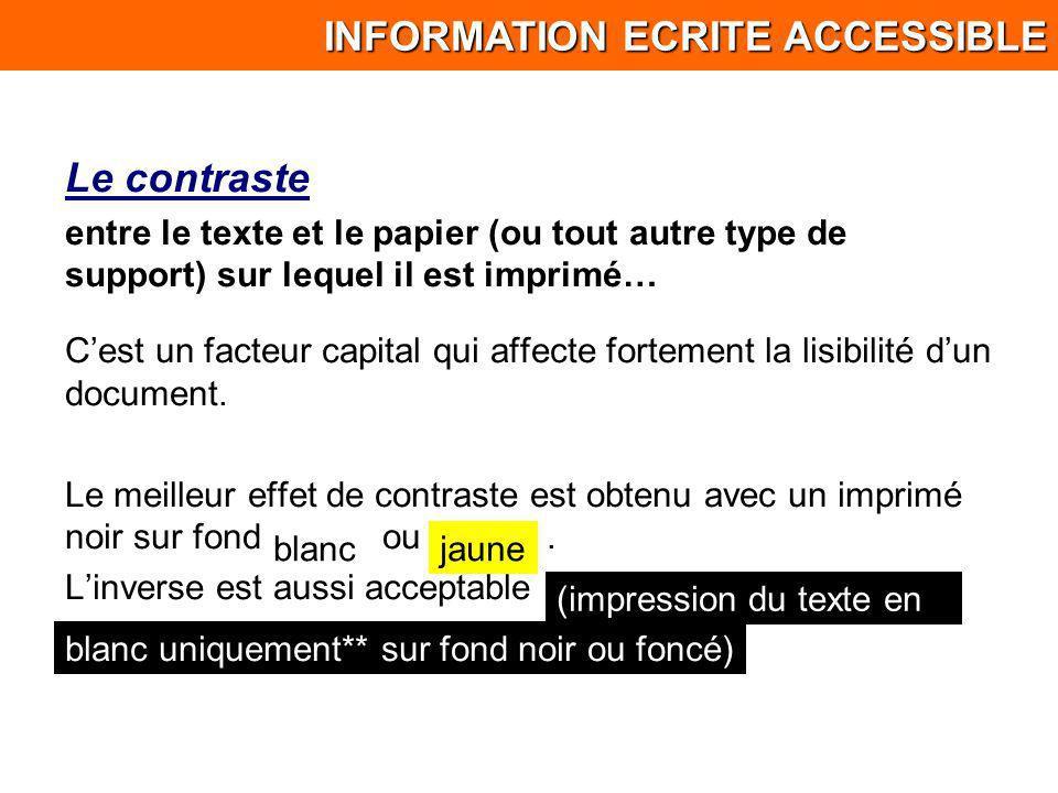 Le contraste entre le texte et le papier (ou tout autre type de support) sur lequel il est imprimé… Cest un facteur capital qui affecte fortement la l