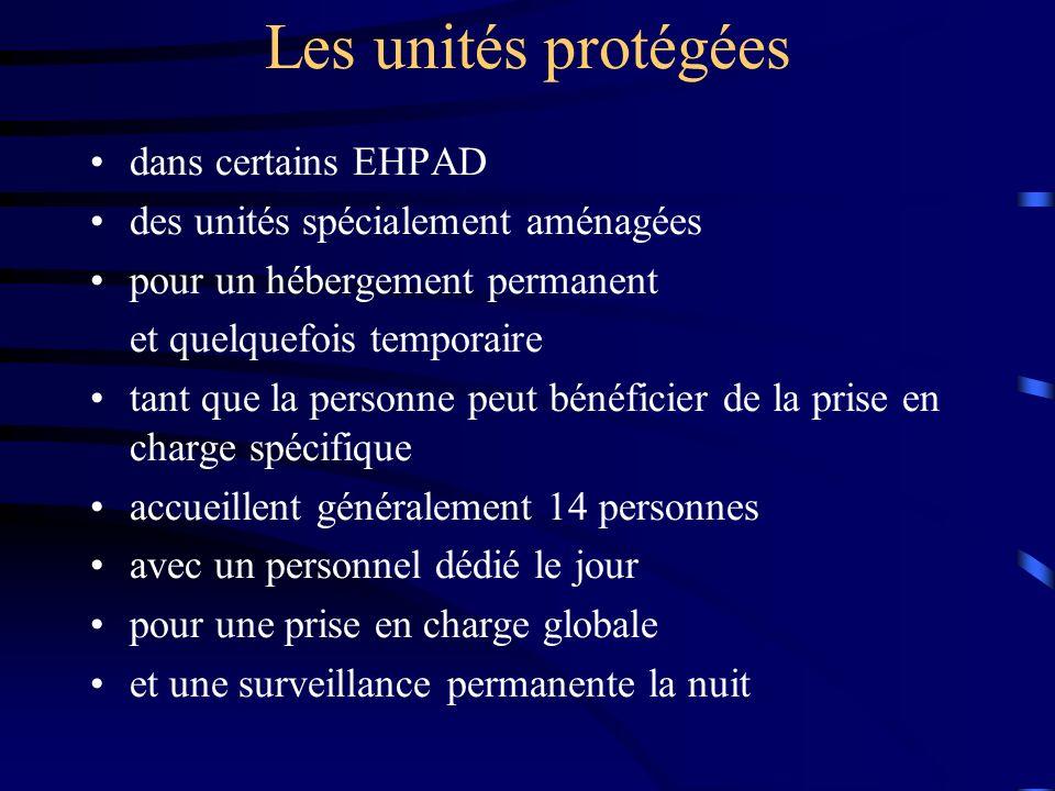 Les unités protégées dans certains EHPAD des unités spécialement aménagées pour un hébergement permanent et quelquefois temporaire tant que la personn