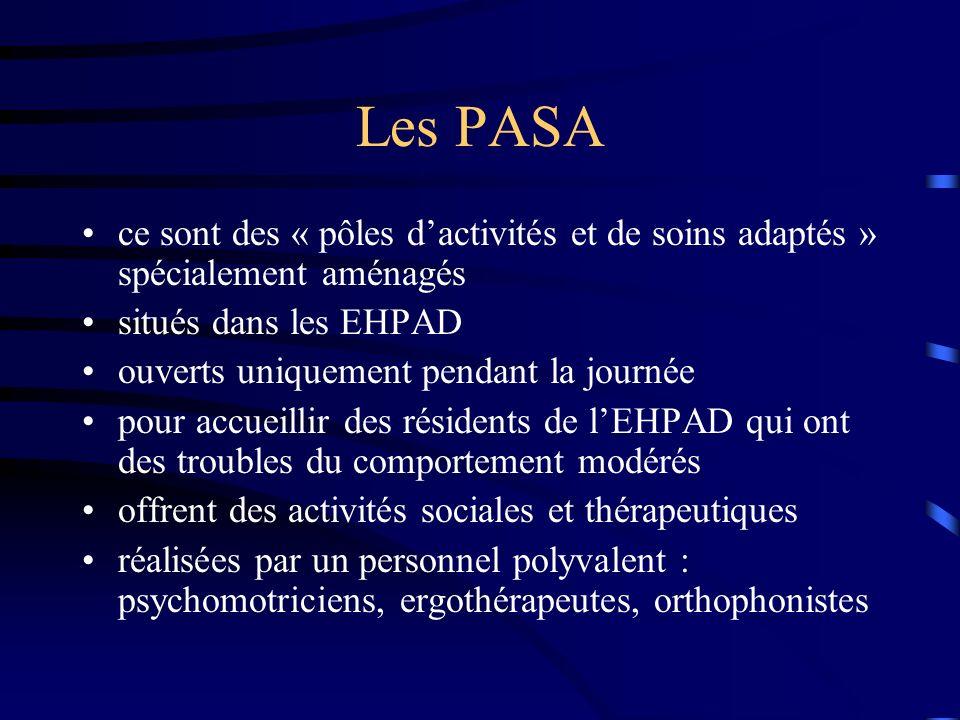 Les PASA ce sont des « pôles dactivités et de soins adaptés » spécialement aménagés situés dans les EHPAD ouverts uniquement pendant la journée pour a