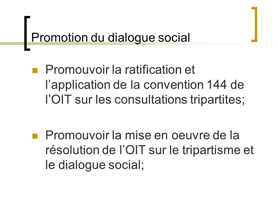 Promotion du dialogue social Promouvoir la ratification et lapplication de la convention 144 de lOIT sur les consultations tripartites; Promouvoir la mise en oeuvre de la résolution de lOIT sur le tripartisme et le dialogue social;