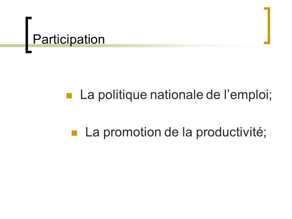 Participation La politique nationale de lemploi; La promotion de la productivité;