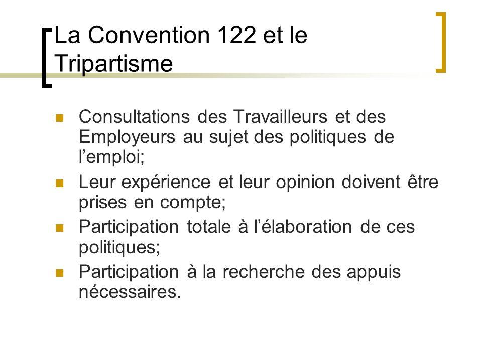 La Convention 122 et le Tripartisme Consultations des Travailleurs et des Employeurs au sujet des politiques de lemploi; Leur expérience et leur opinion doivent être prises en compte; Participation totale à lélaboration de ces politiques; Participation à la recherche des appuis nécessaires.